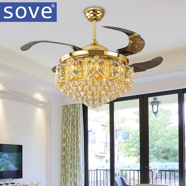 Sove Stealth Gold Ceiling Fan Light Stylish Modern Restaurant Led Folding Crystal Fans With Lights