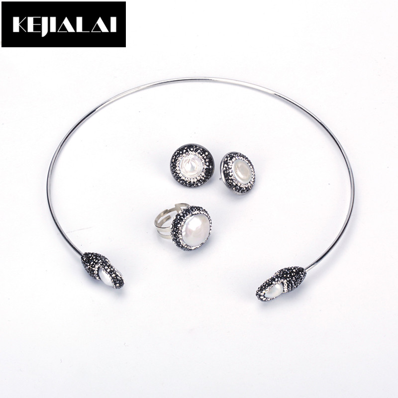 KEJIALAI Boho Jewelry Sets Freshwater Pearl Cuff Choker Necklace Rhinestone Stone Stud Earrings Round Ring for Party Best Gift