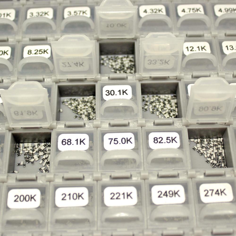 AideTek SMD 0603 1% 144 значения резистора Комплект 10 МОм Ассорти 14400 коробка-Все Великобритании корабль этикетки Пластиковые части коробки R06E24100