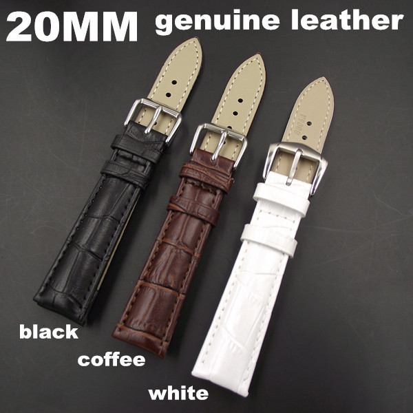 Wholesale 10PCS / lot High quality 20MM genuine cow leather Watch band watch strap coffee,black,white color available -WB0006 1pcs high quality 18mm 19mm 20mm 22mm 24mm genuine cow leather watch band watch strap coffee black white color