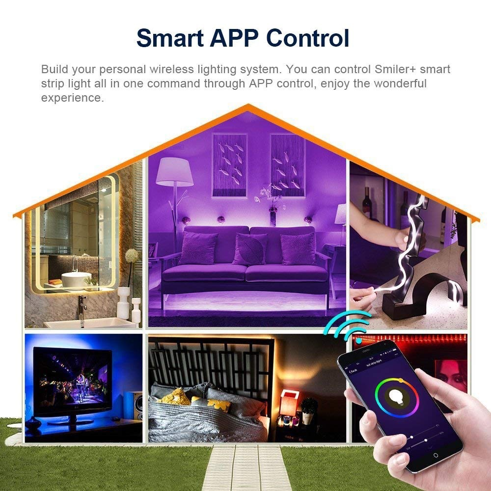 1M 2M 3M 5M 10M 15M Wireless Phone Control WiFi LED Strip Works With Amazon 1M 2M 3M 5M 10M 15M Wireless Phone Control WiFi LED Strip Works With Amazon Alexa Google Home IFFFT SMD 5050 12V RGB Tape Ribbon