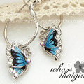 Fashion Elegant and Charming Korea Silver Plated Blue Crystal Flying Butterfly Hoop Earrings for Women Girls Jewelry