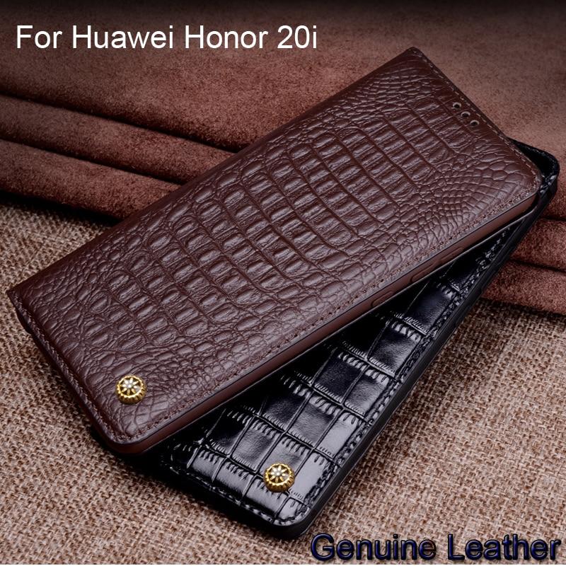 Étui pour huawei Honor 20i de luxe en cuir véritable motif Crocodile etui téléphone huawei Honor 20i Protection en cuir couverture arrière