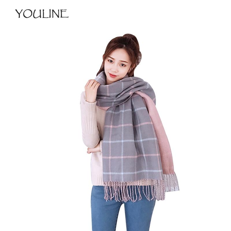 YOULINE vintage luxury brand women scarf plaid warm cashmere ladies scarves winter shawls pashmina bandana thick foulard S17522