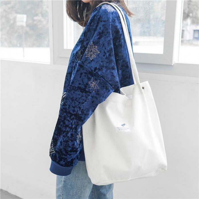 High Capacity Women Corduroy Tote Ladies Casual Shoulder Bag Foldable Reusable Shopping Beach Bag WML99 6