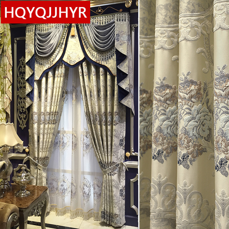 European luxury villa 3D jacquard relief Blackout curtains for Living Room Royal Custom curtains for Bedroom/Kitchen Window window valance