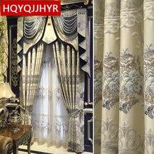 Europese luxe villa 3D jacquard reliëf Verduisterende gordijnen voor Woonkamer Royal Custom gordijnen voor Slaapkamer/Keuken Venster