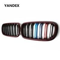 Яндекс углеродного волокна Блеск Красный переднего бампера гонки решетка для BMW X5 F15 X6 F16 xDrive35i xDrive50i xDrive25d xDrive30d