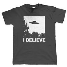 I Believe Mens UFO T Shirt - Sci-Fi Alien Gift for Dad Funny Tops Tee New  Unisex High Quality Casual Printing