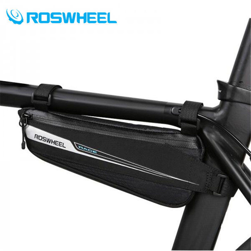 ROSWHEEL Bicycle Triangle Bag Road Bike Upper Tube Breaking Wind Pouch Cycling Front Beam Pannier Bicicleta 0.6L Triathlon Bag roswheel 1 2l portable waterproof bike saddle bag cycling seat pouch bicycle tail rear pannier