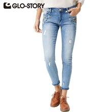 Glo-story цветок рваные джинсы 2017 джинсы с высокой талией тощий отверстие джинсовой карандаш брюки стрейч женщины алмазный femme джинсы wnk-4101