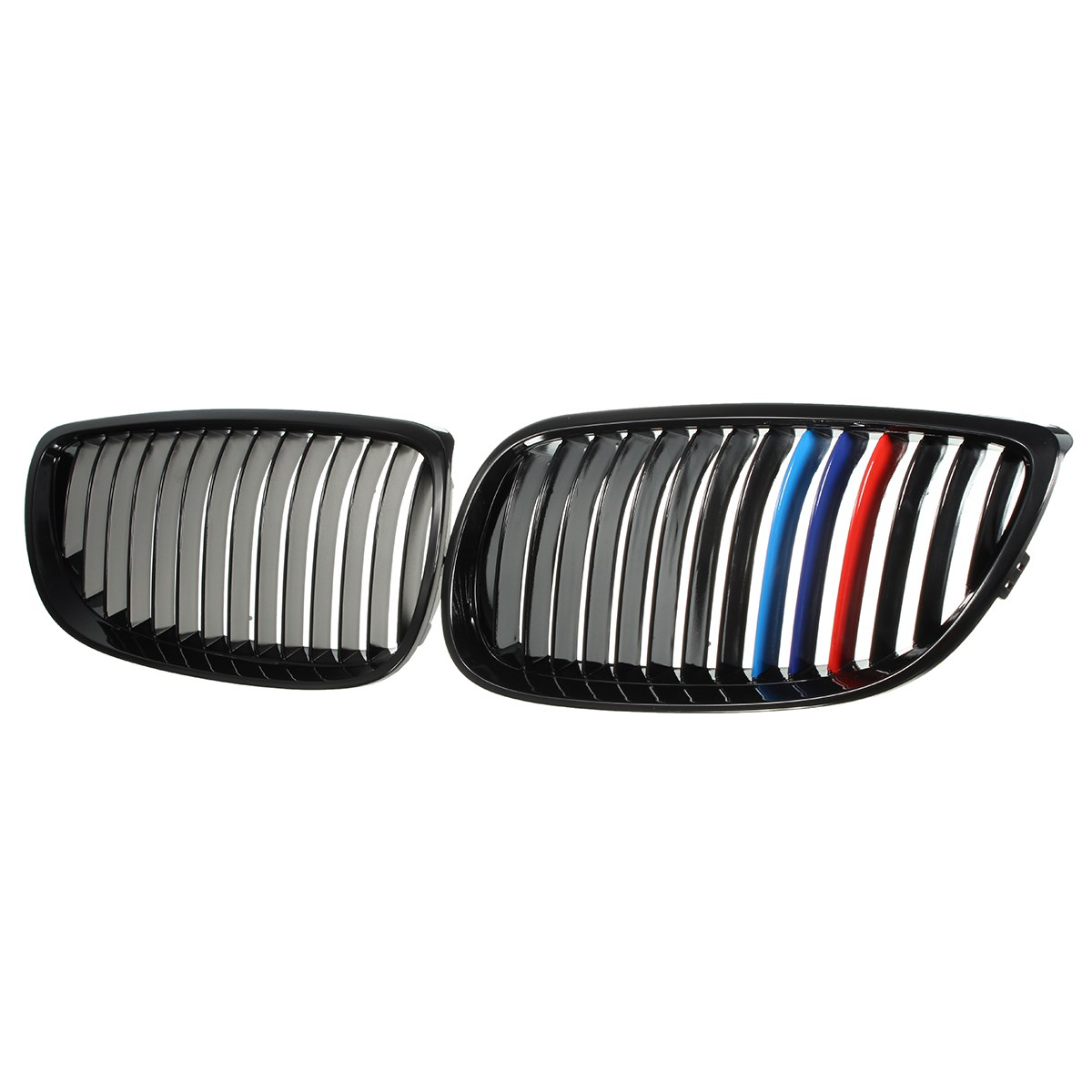 Pair Left Right Side Front Grilles Gloss Black M color For BMW E92 E93 3 Series