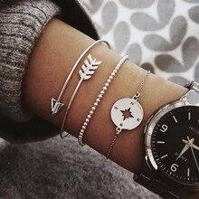 3/5 pcs Fashion Turtle Map Heart Letter Beads Chain Bracelet Multilayer Arrow Compass Charm Bracelet & Bangle Jewelry For Women classic heart letter a bracelet for women
