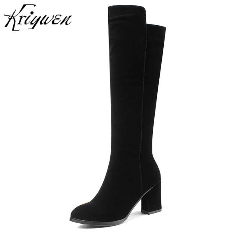 Kriywen 2018 Winter Womens Motorcycle Boots Dress Woman Shoes Zipper Thigh High Heels Party Knee High Boots Work Safety Boots