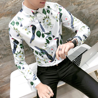Top Quality Mens Long Sleeve Shirt Luxury Print Slim Fit Night Club Social Shirts Dress Hot Sale 3XL-M Flower&Bird Tuxedo Shirts