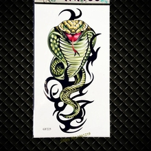 Cool 3D Cobra Snake Temporary Tattoo Stickers For Men Body ARt ARm Tattoo Paste GGF225 Fake Flash HEnna Temporary Tattoo Women