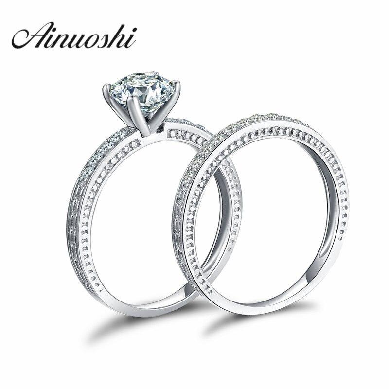 AINOUSHI 4 Prong 925 Sterling Silver Bridal Ring Set Anniversary Engagement Ring 1 Carat SONA Jewelry 2PC Wedding Women