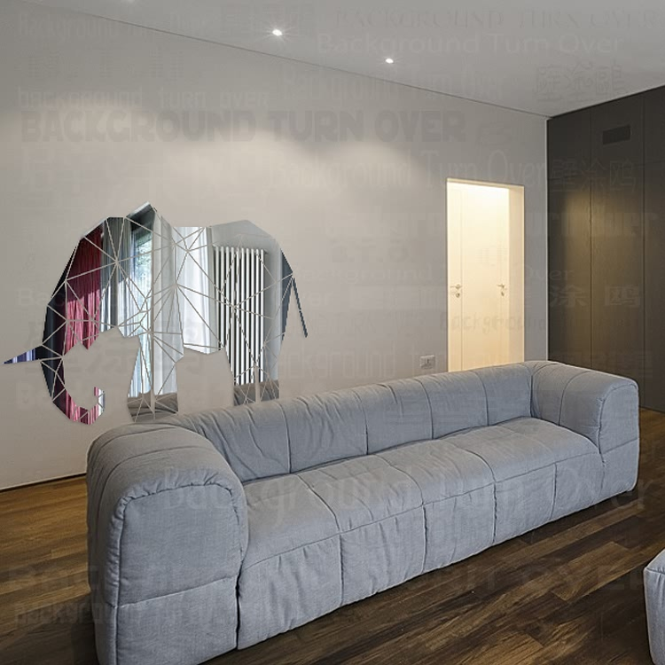 Creativo 3D Animal reflectante acrílico espejo decorativo de pared pegatina elefante para habitación chico decoración de sala de estar R102