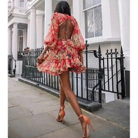 Fashion new printing flowers red one piece backless mini dress hot chic holiday long sleeve