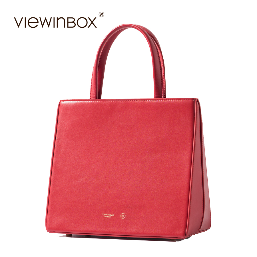 Viewinbox Red Women's Handbag Small Split Leather Flat Bag Lady Bags Handbags Women Famous Brands High Quality Messenger Bag