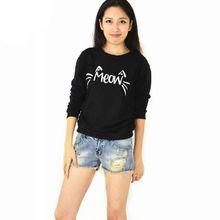 Volné dámské tričko s dlouhým rukávem a nápisem MEOW
