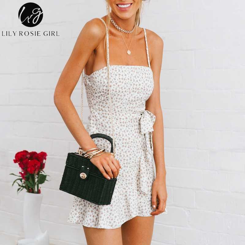 3ea4510f013 Лили Rosie девушка без бретелек пляжное летнее платье оборками Короткое  платье с цветочным принтом галстук-