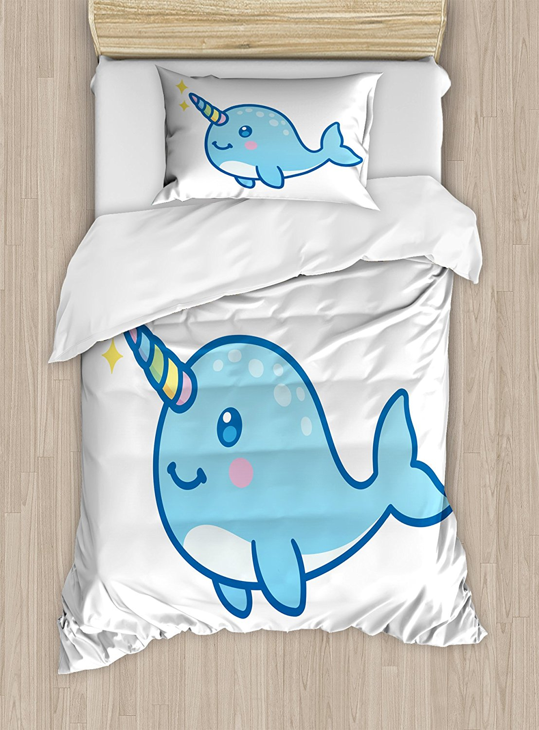 Narwhal Duvet Cover Set Cartoon Drawing Style Whale with Rainbow Horn Unicorn of the Ocean Arctic Animal 4 Piece Bedding Set