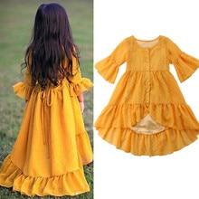 2019 Toddler Kid Baby Girl Dress Ruffles Long Sleeve Maxi Dress Beach Summer Children Girls Clothing Party Princess Dresses