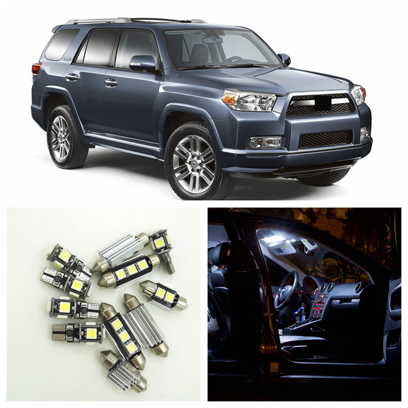 14pcs White LED License Plate Lights Interior Package Kit For 2003-2015 <font><b>Toyota</b></font> <font><b>4Runner</b></font> Map Dome Trunk Step/Courtesy Light image
