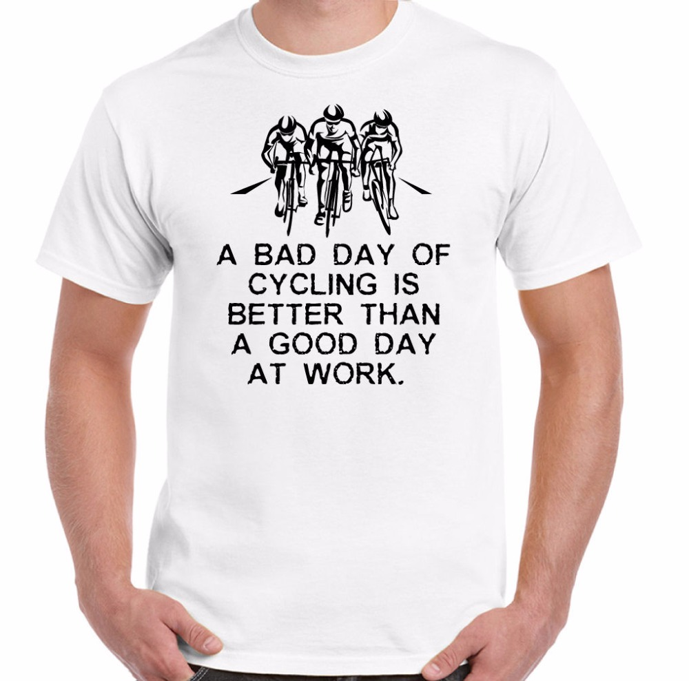 2018 Hot Sale Men 100% Cotton A Bad Day Of Cyclist - Mens Funny T-Shirt Cycler Cyclist Biker Racer Road printed Tee Shirts