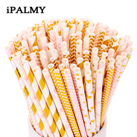 ipalmay 11000pcs Metallic Gold Foil Paper Straws Party Foiled Drinking Straws Wedding Birthday Party Favour Drinking Supplies