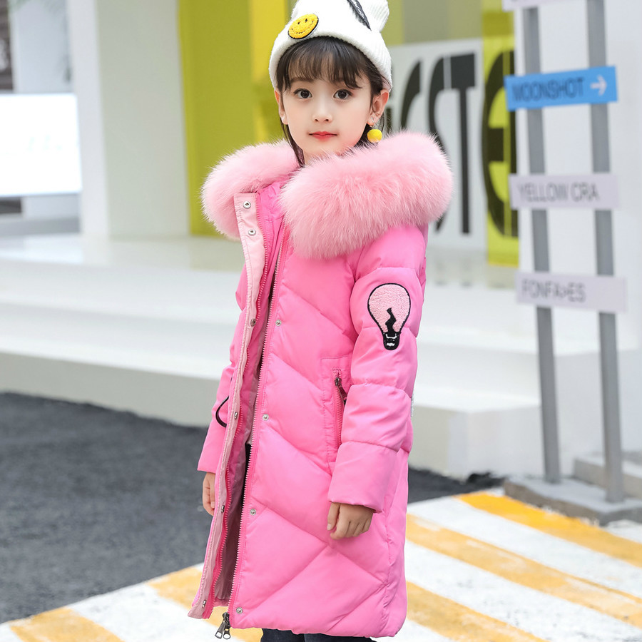 Фото Winter Girls Fashion Big Fur Collar Jacket Children Thickening Warm Down Jackets Girls Long Section Hooded Coats