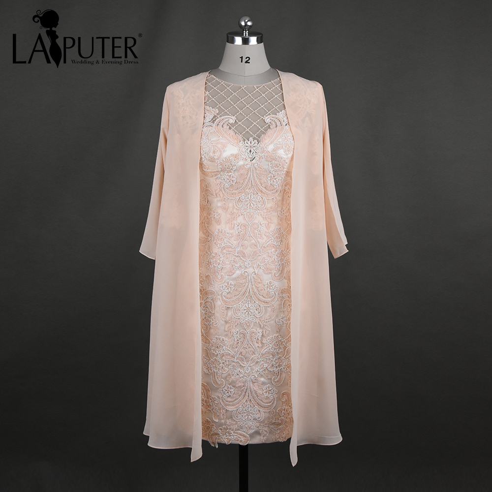 New arrival sheath knee length scoop neck three quarter for Wedding dresses with three quarter length sleeves