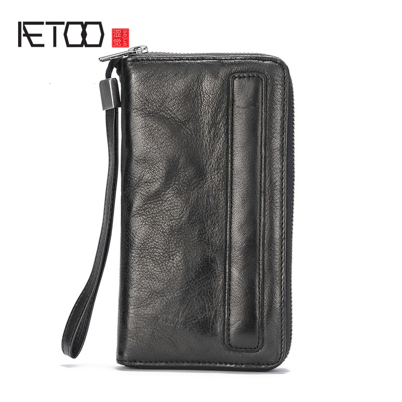 AETOO Handmade retro men's wallet women's long zipper sheepskin tide men's cell phone handbag Vintage wallet