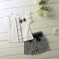 New 2015 Baby Girl Set Fashion Lace Pearl Bow Dress with Black Striped Shorts 2 Pcs Set children clothing set for 2-5Y summer