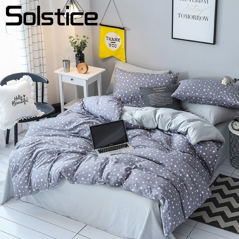 Solstice Home Textile King Queen Twin Bedding Sets Adult Teen Kid Boy Girls Bedlinens Gray Star Duvet Cover Bed Sheet Pillowcase