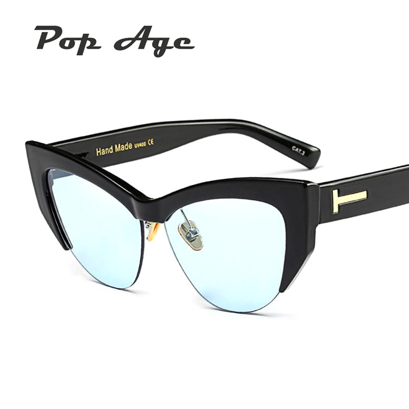 29238129d53a Pop Age New Ocean Blue Pink Cat Eye Sunglasses Women Men Brand Designer  Luxury Sun Glasses Vintage Eyeglasses Oculos de sol