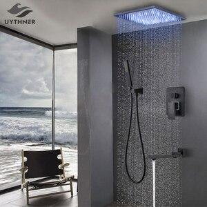 Image 1 - Bathroom Faucet Black Bronze Rain Shower Bath Faucet Ceiling Mounted Bathtub Shower Mixer Tap Bathroom Shower Faucet Shower Set