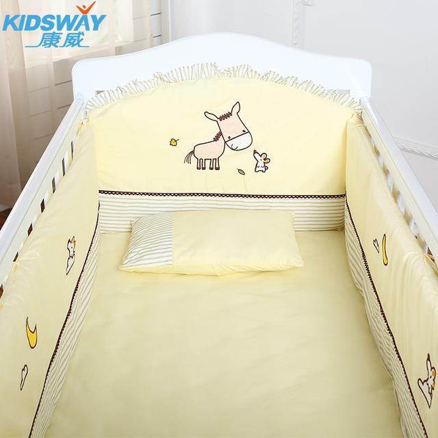 4-5-6pcs berço cama definir 100% algodão bordado berço cama bumper set, infantil berçário set, baby bedding set