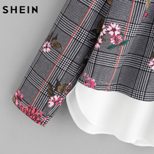 SHEIN Mixed Print Curved Hem 2 In 1 Blouse Autumn Women Tops Multicolor Contrast Collar Long Sleeve Floral Plaid Blouse