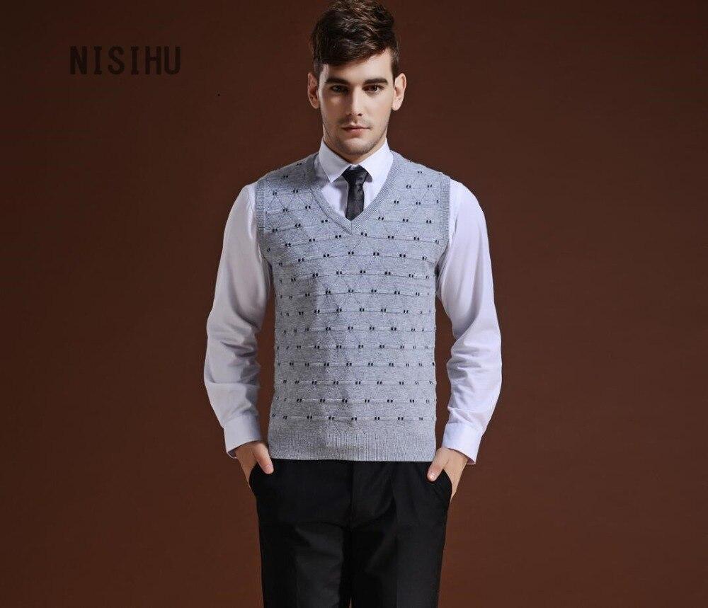 Hot sale men's argyle v neck sleeveless cashmere sweater jacquard ...