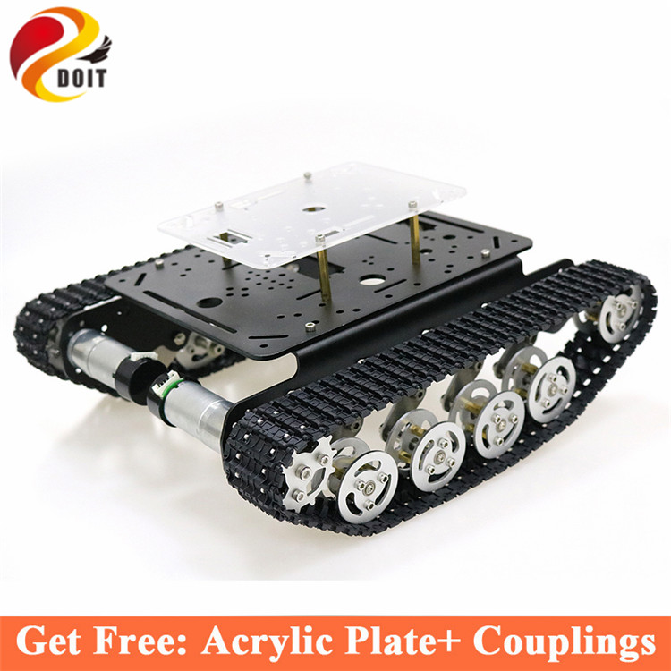 Shock Absorber rc metal robot Tank Car Chassis crawler caterpillar tractor tracked vehicle teaching eduational kit for arduino doit ts100 metal shock absorber robot tank chassis tracked vehicle track car crawler caterpillar for arduino diy rc toy teach