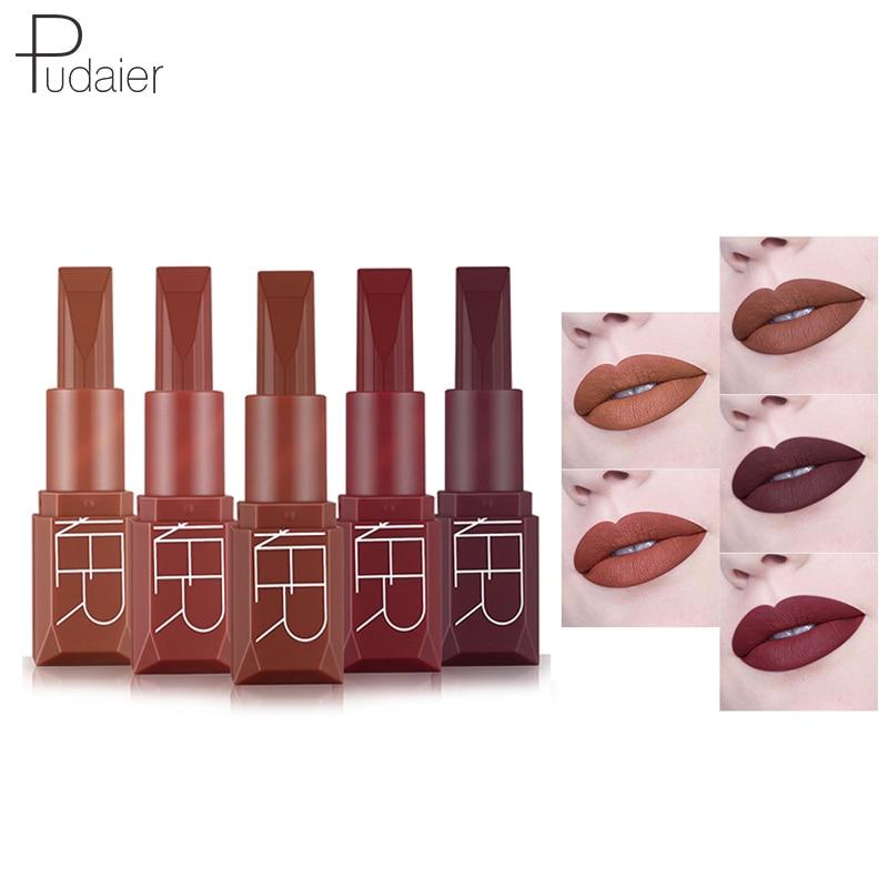 60 stks/set Pudaier Matte Vloeibare Lipstick 5 Kleuren Make Waterdicht Fluwelen Naakt metallic Tint Zachte Lipgloss Lippen Cosmetica