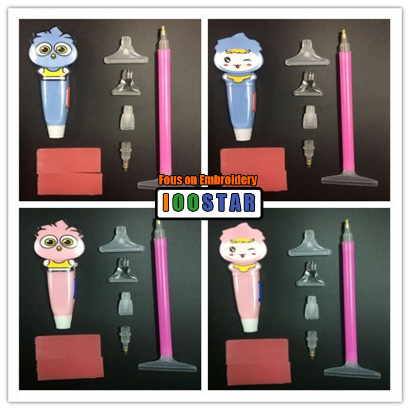 Perzodo 2 Pieces LED 5D Diamond Painting Pen Cross Stitch Tools Cartoon Drill Pen with Light Clearer Easy Pasted Mosaic Diamond Embroidery Gift