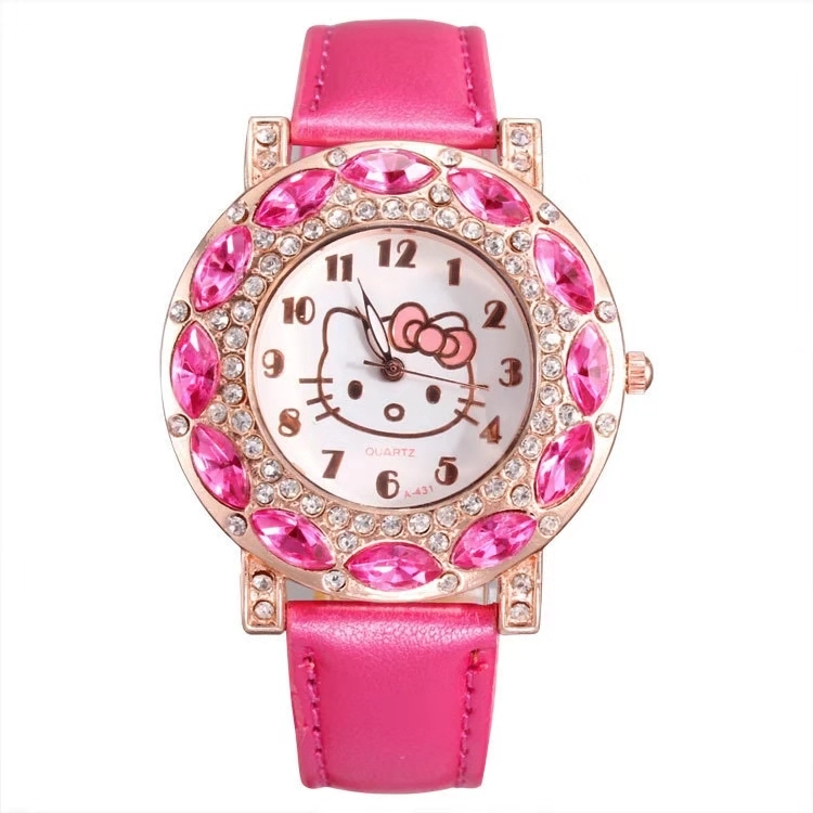 Children Fashion Cartoon Personality Female KT Belt Set Diamond British Female Student Watch