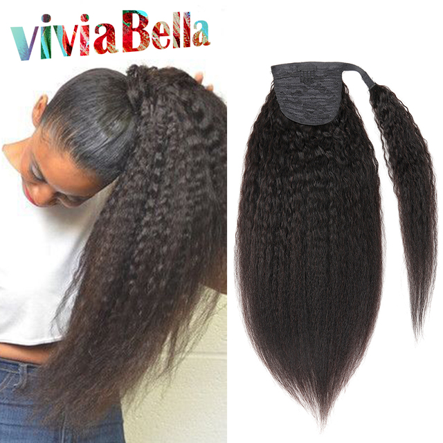 7a Kinky Straight Brazilian Virgin Hair Ponytail Extensions Natural