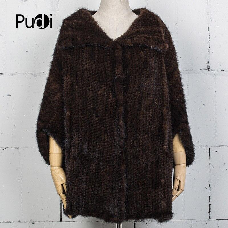 Pudi VT7025 новые женские зимние реального норки жилеты Куртки 2017 Новый бренд поступление норки шаль пончо