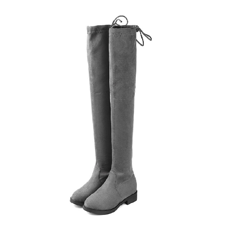 2018 autumn and winter new plus velvet thick round head thick with over the knee womens boots gray 01172018 autumn and winter new plus velvet thick round head thick with over the knee womens boots gray 0117