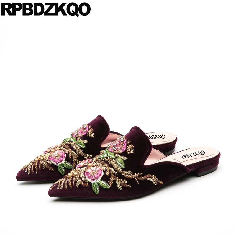 Summer Beaded Flower Pointy Women Purple Floral Slides Chinese Embroidered Shoes Mules Flats Sandals Suede Embroidery Slippers коляска esspero summer line light purple sl010a 108068275