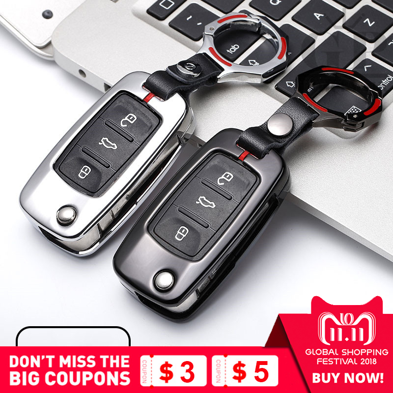 Car Key Case For Volkswagen VW Passat Golf Jetta Bora Polo Sagitar Tiguan Auto Key Bag Cover Protector with Key Chain Zinc Alloy 2 x car decoration stickers car decals for volkswagen vw golf polo sagitar jetta tiguan gti